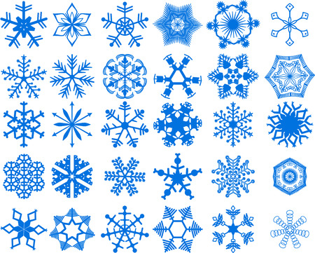 30 beautiful cold crystal snowflakes - vector illustration. Fully editable,very easy color change. Stock Vector - 4046415