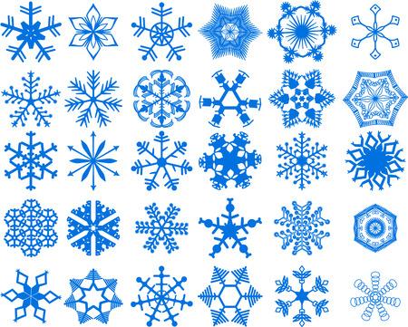 30 hermosos copos de nieve de cristal fr�o - ilustraci�n vectorial. Totalmente editable, muy f�cil cambio de color.