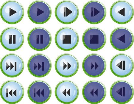 Azul para el jugador de botones web de dise�o Vectores