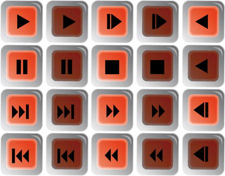 Blue web buttons for player design Vector