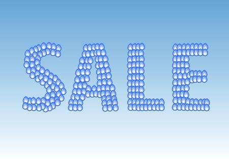 blue sky: Vector sale label. Water drops.