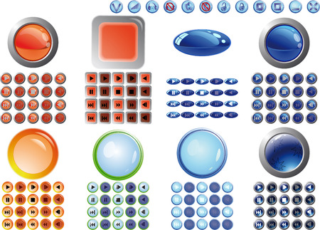 BIG buttons collection for player design in web. Vector