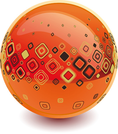 3d Color vector sphere with fashion ornament.