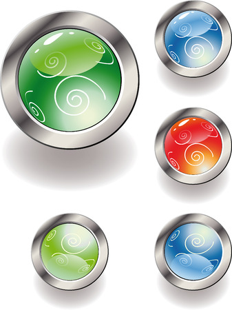 Collection of color glossy buttons. Vector illustration Stock Vector - 4632209