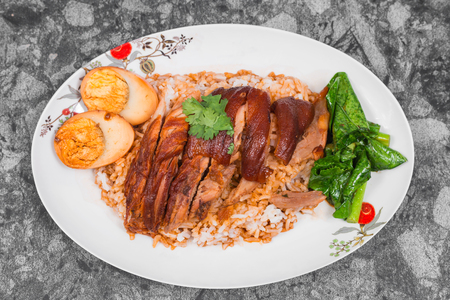 Stewed pork leg on rice with boiled egg, Traditional food in Thailand. Zdjęcie Seryjne
