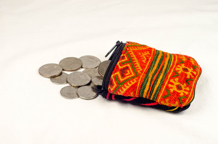economise: purse with coins