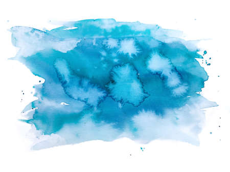Hand painted blue watercolor background, watercolor spot, splashes. watercolor texture on white background, abstract for trendy design.