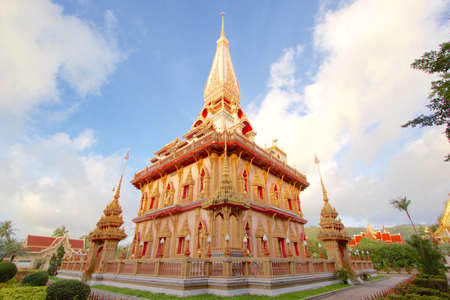 East view of Biggest Pagoda at Chalong Temple Phuket Thailand