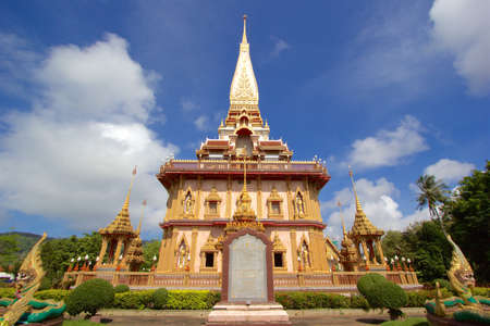 chalong: Front view of biggest pagoda at Chalong Temple Phuket Thailand