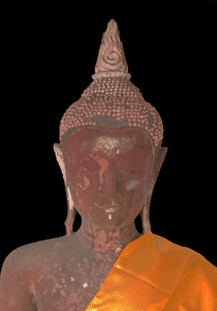 antiques: Buddha Statue Antiques with black background at PratadChaiya temple Suratthani Thailand