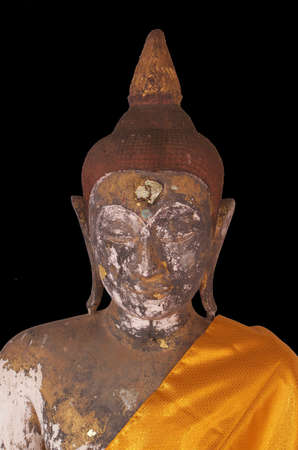 antiques: Buddha Statue Antiques with black isolated at PratadChaiya temple Suratthani Thailand