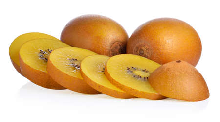 nourish: Whole and cut golden kiwifruit on white background