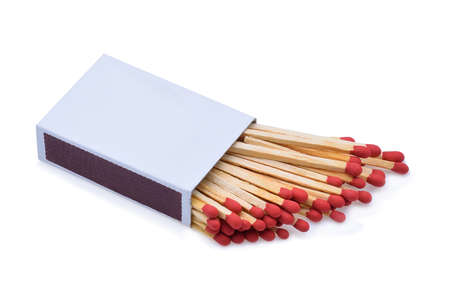 The matchbox and matches isolated on white background Stock Photo