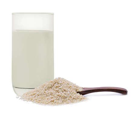white sesame seeds: Milk white sesame seeds Stock Photo