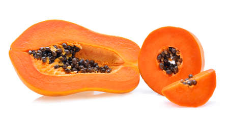 grope: Ripe papaya isolated on a white background