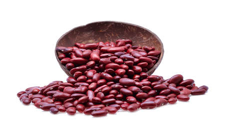 aduki bean: Red beans isolated on white background