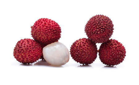 leechee: lychees isolated on white Stock Photo
