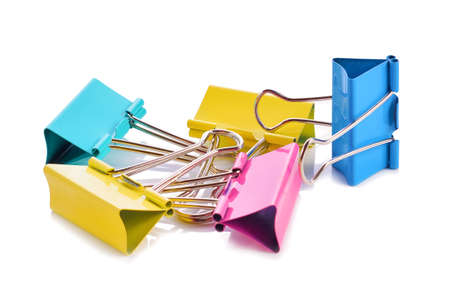 binder clip: Colorful binder clip isolated on white background Stock Photo