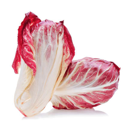 red chicory leaves isolated on white background