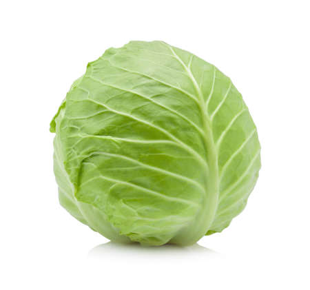 Green cabbage on white background.