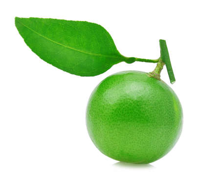 lemon wedge: Lime with leaves isolated on white background