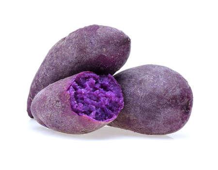 白地に紫のサツマイモ