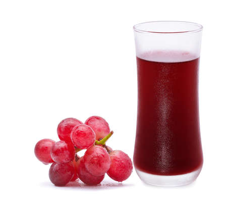 Glass of grape juice and grape isolated on white