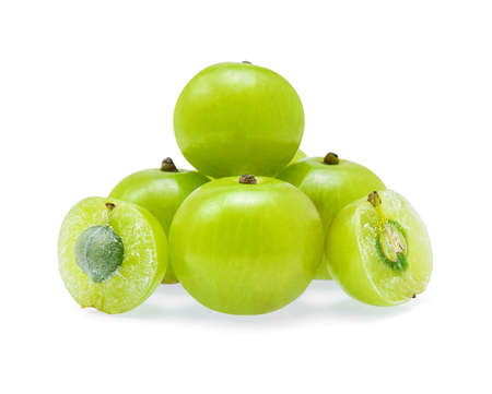tropica: Indian gooseberry or Amla (Phyllanthus emblica) isolated on white