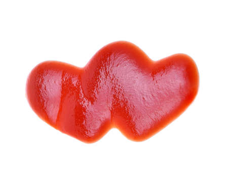 heart of ketchup isolated on white background