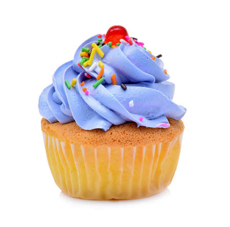 mini tasty cupcake isolated on white background 免版税图像