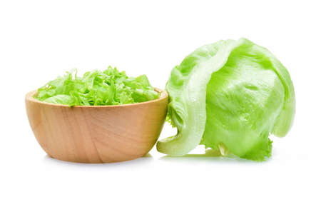 saturated: Green Iceberg lettuce on white background.
