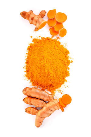 Turmeric roots and turmeric powder on white background,top view