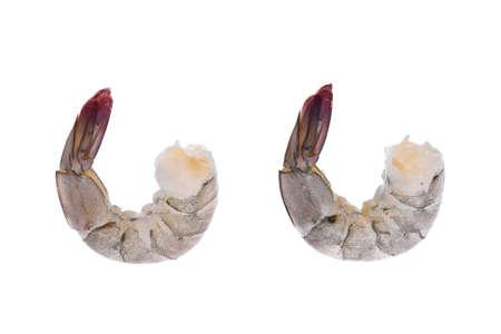 Raw prawns isolated on white background