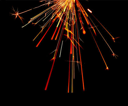fire flames with sparks on black background Stock Photo