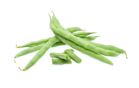 long bean: Green beans isolated on white background. Stock Photo