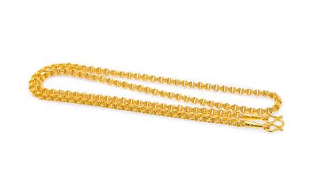 금 목걸이 흰색 배경에 고립