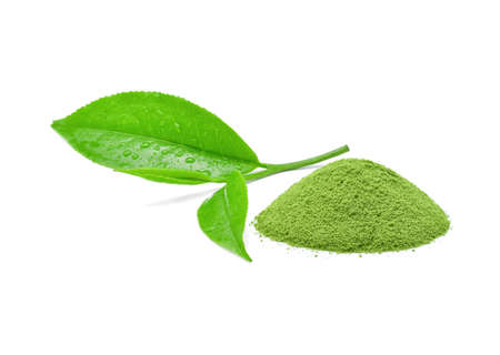 powder green tea with green tea leaf on white background. Archivio Fotografico