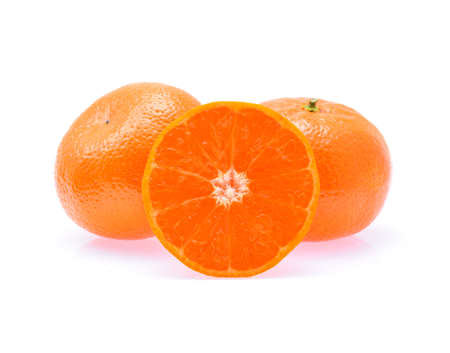 tangerine or mandarin fruit isolated on white background Stock Photo