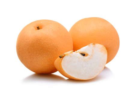 Snow pear on white background. Stock Photo