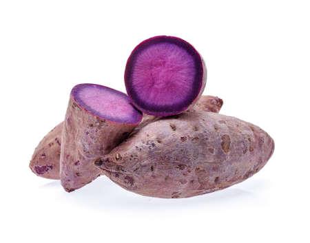 孤立した白地に紫芋