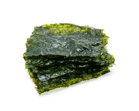Sheet of dried seaweed, Crispy seaweed isolated on white background.