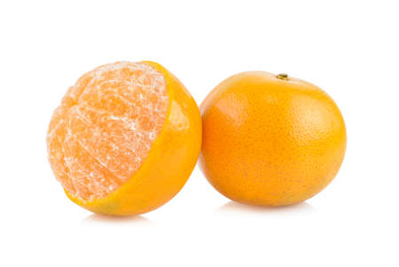 tangerine segments isolated on white background, stacked focus image