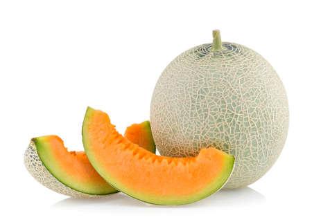 cantaloupe melon isolated on white background Imagens
