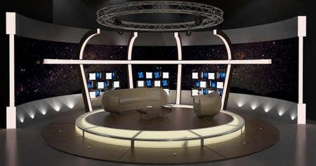 仮想テレビは、テレビ チャンネルの任意の近代的なショーのために必要な 20 のバーチャル セットの設定チャットします。詳細な図面やモデル化計 写真素材