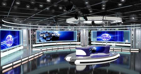 Virtual TV News Establece 1 juegos virtuales que son necesarios para cualquier programa moderno para los canales de TV. Dibujos detallados y planos modelados estudio virtual ambientado en el Scala Real-World Este fondo es ideal para su uso en un programa de noticias. Foto de archivo - 73753265