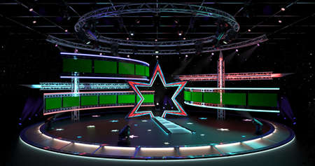 Virtual TV Studio Background Set 4-1 3D rendering Virtual set studio for chroma footage. wherever you want it, With a simple setup, a few square feet of space, and Virtual Set, you can transform any location into a spectacular virtual set. Stok Fotoğraf