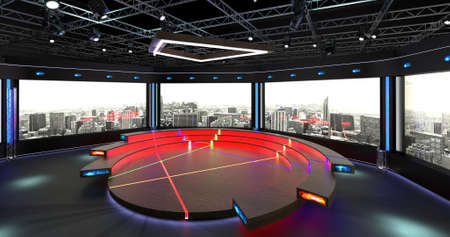 Virtual TV Studio Chat Set 2-2. 3d Rendering. Virtual set studio for chroma footage. wherever you want it, With a simple setup, a few square feet of space, and Virtual Set, you can transform any location into a spectacular virtual set.
