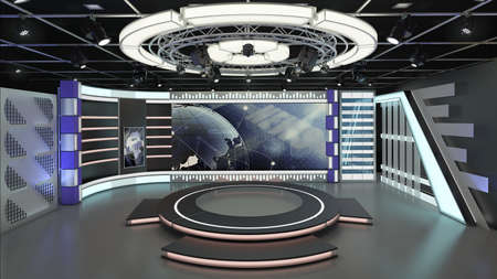 Virtual TV Studio News Set 6-1. 3d Rendering. Virtual set studio for chroma footage. wherever you want it, With a simple setup, a few square feet of space, and Virtual Set, you can transform any location into a spectacular virtual set. This background was created in high resolution with 3ds software. You can use it in your virtual studios.