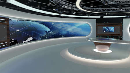 Virtual TV Studio News Set 28-3. 3d Rendering. Virtual set studio for chroma footage. wherever you want it, With a simple setup, a few square feet of space, and Virtual Set, you can transform any loca