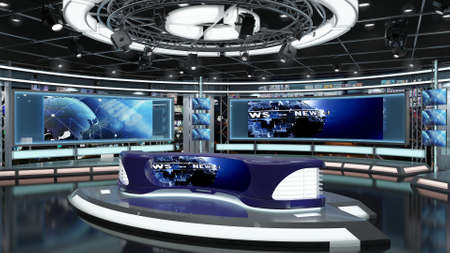 Virtual TV Studio News Set 1.2.6 Green screen background. 3d Rendering. Virtual set studio for chroma footage. wherever you want it, With a simple setup, a few square feet of space, and Virtual Set.